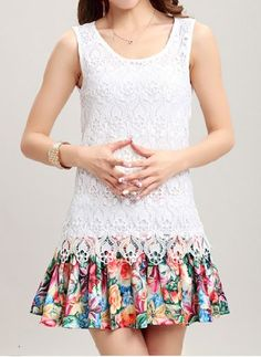 Cute Scoop Neck Printed Sleeveless Faux Twinset Design Lace Dress For Women
