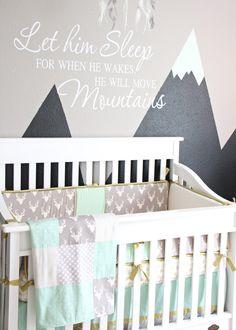 Caden Lane's Woodland Deer Baby Bedding in Baby Reyn's Mint & Gray Nursery