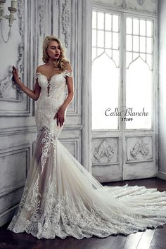 Calla Blanche wedding dress/gown- Yasmine, ivory trumpet wedding dress with lace, illusional deep sweetheart neckline, strapless and cap sleeves. For the Bride Boutique, Ft. Myers, FL