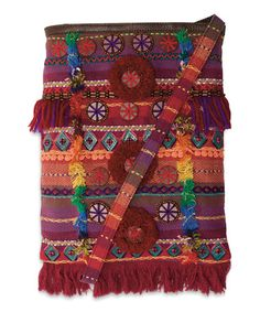 Look what I found on #zulily! Maroon & Burnt Rust Stripe Embellished Crossbody Bag #zulilyfinds
