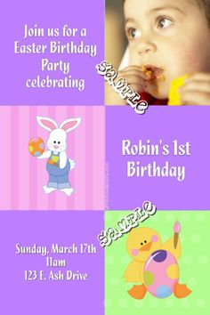 Easter Birthday Party Invitations - Any Color Scheme - Choose Your Clipart - Digital Download - Get these invitations RIGHT NOW. Design yourself online, download and print IMMEDIATELY! Or choose my printing services. No software download is required. Free to try! Easter Invitations, Diy Invitations, Birthday Party Invitations, Easter Birthday Party, 2nd Birthday, All Holidays, Printing Services, All The Colors, Color Schemes