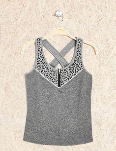 débardeur fitness zippé gris chiné