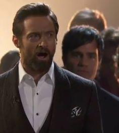 Hugh Jackman (and Ramin Karimloo!) during the Les Misérables cast performance at the Oscars.