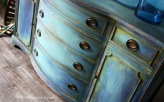 The Turquoise Iris ~ Vintage Modern Hand Painted Furniture CeCe Caldwell's paints