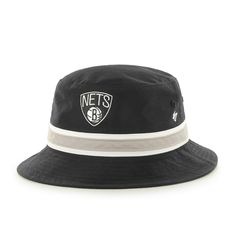 df20881bfc8 Men s Brooklyn Nets  47 Black Hardwood Classic Stripe Bucket Hat
