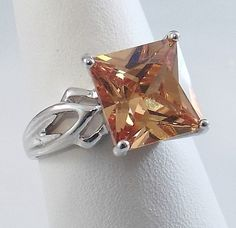 Ladies Square Amber CZ 18K White Gold Overlay Ring~Size 7 1/2-Free Gift Box