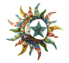 Whimsical Celestial Sun, Moon, and Star Metal Wall Art by Things2Die4