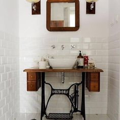 Upcycling a singer trestle table! ======> @goodhomesmagazine:We came across this beautiful idea on reusing this old sewing machine as a pedestal for the washbasin. #home #ideas #decorideas #diy #diyprojects #washbasins #bathrooms #bathroomdecor #sewingmachine (Photograph Courtesy - Studio Zaza)