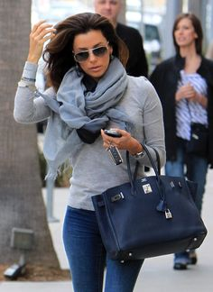 soft, thin, knit top, scarf, jeans, aviators & an amazing bag....