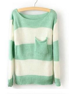 Green White Striped Sweater