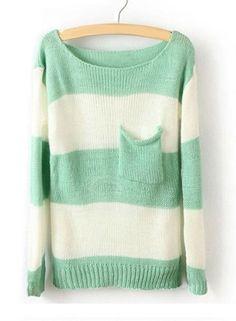 Green White Striped Sweater