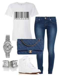 A fashion look from September 2016 by springitontees featuring 7 For All Mankind, NIKE, Chanel and Rolex Cute Swag Outfits, Chill Outfits, Dope Outfits, Classy Outfits, Stylish Outfits, Summer Outfits, Fashion Outfits, Womens Fashion, Fashion Tips