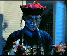 Jiangshi, the Chinese Vampire is much more bestial in its monstrosity than its Slavic counterpart; it cannot speak, has pale skin, long claw-like fingernails, and a long prehensile tongue. It moves by hopping and always has its arms outstretched in rigor mortis.