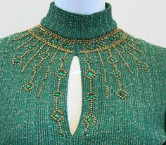 1stdibs.com | Oscar De La Renta Green and Gold Embellished Neckline Dress