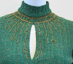 1stdibs.com | Oscar De La Renta Green and Gold Embellished Neckline Dress