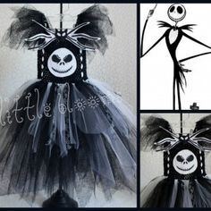 The Jack Skellington Tutu Costume is absolutely PERFECT  for a spooky Halloween look & it is LOADED with character! The skirt is fashioned with double layers of black, crisp white and sparkling black 'spider-web' looking tulle & interlaced with satin spider web ribbons. Two hand-made Jack appliques adorn the front of the bodice. The center piece is an extra spooky Jack Skellington face with hand-stitched stitches along his mouth. At the top of the bodice is a hand-made bat bow-tie.