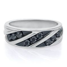 1 ct. tw. Black Sapphire Men's Band in Sterling Silver available at #HelzbergDiamonds  HELZBERG.COM