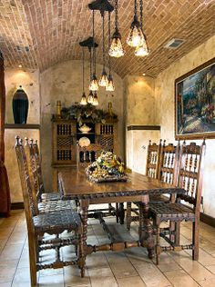 multiple pendants ~ pretty ranch decor. The table and chairs are too ornate for my taste but the rest is very nice :)