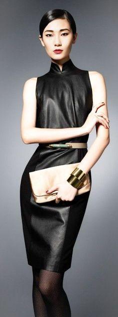 Shanghai Tang black leather qipao