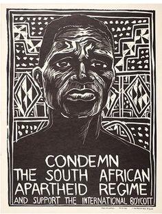 Condemn the South African Apartheid Regime, linocut by Rachael Romero 1976