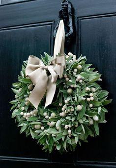 Fresh Christmas Wreath - Sage & White Berry | eBay