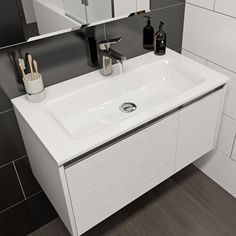 Mode Banks textured matte white wall hung vanity unit and basin Vanity Units, Vanity Sink, Vanity Area, Inset Basin, Wood Sink, Wall Hung Vanity, Contemporary Bathroom Designs, Small Doors, Chrome Handles