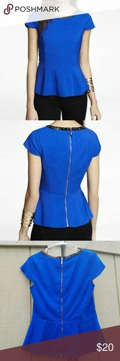 Blue express peplum top studded collar back zipper Blue express peplum top studded collar back zipper Body 98% polyester 2% spandex Lining 95% polyester 5% spandex 18 inches underarm to underarm  14 inches underarm to hem Express Tops