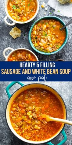 Sausage and white bean soup recipe is hearty filling and oh so tasty! Filled with orzo veggies and lots of flavor it's the perfect cold weather soup to warm you up. This soup is made in one pot and is great for meal prep! White Bean Soup, White Beans, Blog Food, Bean Soup Recipes, Cooking Wine, Homemade Soup, Cooking Recipes, Dump Recipes, Soups