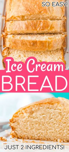 Looking for a bread that requires zero skill, two ingredients, and no kneading? This basic Ice Cream Bread is exactly what you're looking for! Great Desserts, Dessert Recipes, Cream Bread Recipe, Vanilla Bread Recipe, Cream Recipes, 2 Ingredient Desserts, 2 Ingredient Ice Cream, Quirky Cooking, Quick Bread Recipes