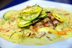 Grilled Grouper, Squash, Zucchini, Dill, Almonds, Corn-Tarragon Emulsion, Crab Meat Grilled Grouper, Zucchini, Crab Meat, Fish And Seafood, Almonds, Squash, Entrees, Favorite Recipes, Vegetables