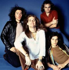 !!! looks like it might be the first picture of Van Halen as a band, ever! DLR's hair is brown and he's wearing normal pants!