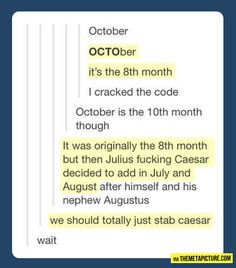 Sometimes you just stumble onto the reasons why history happened. Haha it's funny cause Caesar was stabbed...anyone?....no...ok...