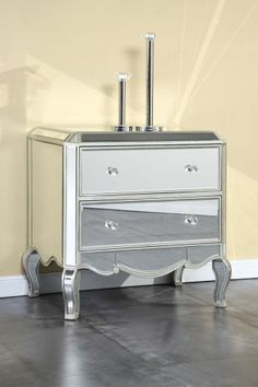 2 DRAWER MIRRORED DRESSER NIGHTSTAND BEDROOM LIVINGROOM FURNITURE FREE SHIPPING #Contemporary