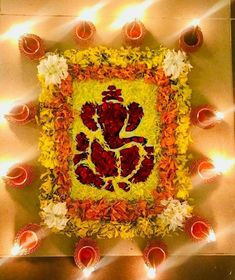 50 Most Beautiful Flower Rangoli Designs (ideas) that you can make during any occasion on the living room or courtyard floors. Easy Rangoli Designs Diwali, Rangoli Simple, Rangoli Designs Latest, Simple Rangoli Designs Images, Rangoli Designs Flower, Free Hand Rangoli Design, Rangoli Border Designs, Rangoli Ideas, Colorful Rangoli Designs
