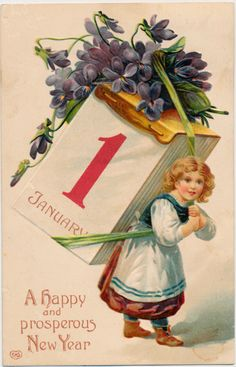 New Year Girl Carrying Big Calendar and Flowers 1910 | eBay
