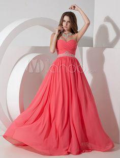 Elegantes Abendkleid aus Chiffon mit Herz-Ausschnitt und Perlen-Applikationen - Milanoo.com