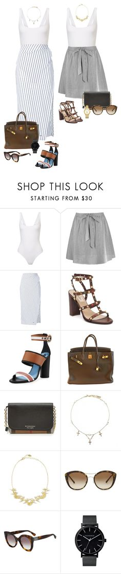 """""""Americans"""" by audrey-balt ❤ liked on Polyvore featuring Alix, Off-White, Valentino, Lanvin, Hermès, Burberry, Goddess, Noir Jewelry, Fendi and Tory Burch"""