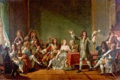 "Molière reading Tartuffe at the literary salon of Anne ""Ninon"" de Lenclos in the 1660s, as depicted by Nicolas-André Monsiau in 1802"