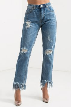 Front View Release Me Frayed Hem Distressed Jeans in Denim