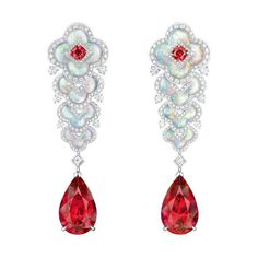 Louis Vuitton Blossom High Jewellery collection: Spinel and Mother of Pearl Earrings.