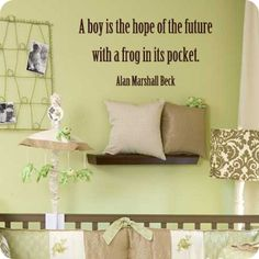 I love frogs! I use to catch them all the time when I was little. :o) Cute theme for a boy and love the saying!