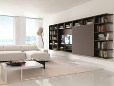 ARGE meubelen speciaal design wand (tv) units www.c … – Arge mobilya duvar (tv) üniteleri. Living Room Wall Units, Living Room Furniture Layout, Living Room Paint, New Living Room, Living Room Designs, Bookshelves With Tv, Wall Mounted Bookshelves, Dark Brown Walls, Muebles Living