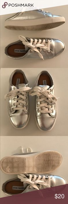 Steve Madden Slide Metallic Sneakers Great condition!! Silver metallic Slide Sneakers with laces. Laces are functional. Size 7 Steve Madden Shoes Sneakers