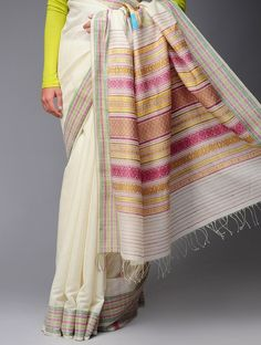 Organic Cotton-Tussar Silk Kumbha Saree