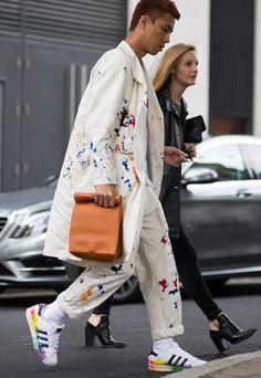 man street style white suit trainers colour splatter paint pattern bright