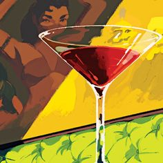 "Holiday Cocktail Lounge: ""Fifty years ago, the Holiday opened at 8 A.M., a former bartender recently told a proprietor, so that high-rise window washers could come in 'to get a little courage.'"" http://nyr.kr/1dFdBYH (Illustration by Rebecca Mock)"