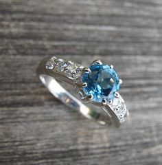 Gorgeous Swiss Blue Topaz Ring Engagement Ring Promise by Belesas