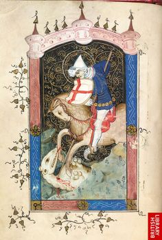 An image of St George taken from the Book of Hours, use of Sarum, Pink Canopies Group, Bruges, circa Medieval Tapestry, Medieval Books, Medieval Life, Medieval Manuscript, Medieval Art, Illuminated Manuscript, Saint George And The Dragon, Renaissance Kunst, Illumination Art