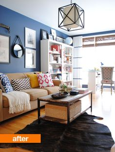 I would have loved to have gone this navy in the basement, but with no natural light, it would have been too dark.  Buuut, I love the fun play on pillows and how key it is that she painted the bookcase white...I might have had fun and painted the YELLOW like the pillow.