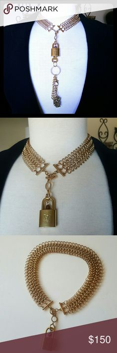 Louis Vuitton Choker Lock & Key #303 Necklace Authentic Louis Vuitton Lock and Key #303. Made of solid brass, yet high shine gold-tone. Includes its matching key, both key and lock are engraved by louis vuitton. The beautiful choker chain is included and is not louis vuitton but definitely a one of a kind vintage choker chain. A keychain will be included with a gold druzy pendant for your LV key, plus a new gorgeously wrapped gift box. Fast ship! Louis Vuitton Jewelry Necklaces